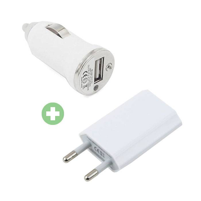 2 in 1 Oplaadset Stekkerlader/Wallcharger & Autolader/Carcharger