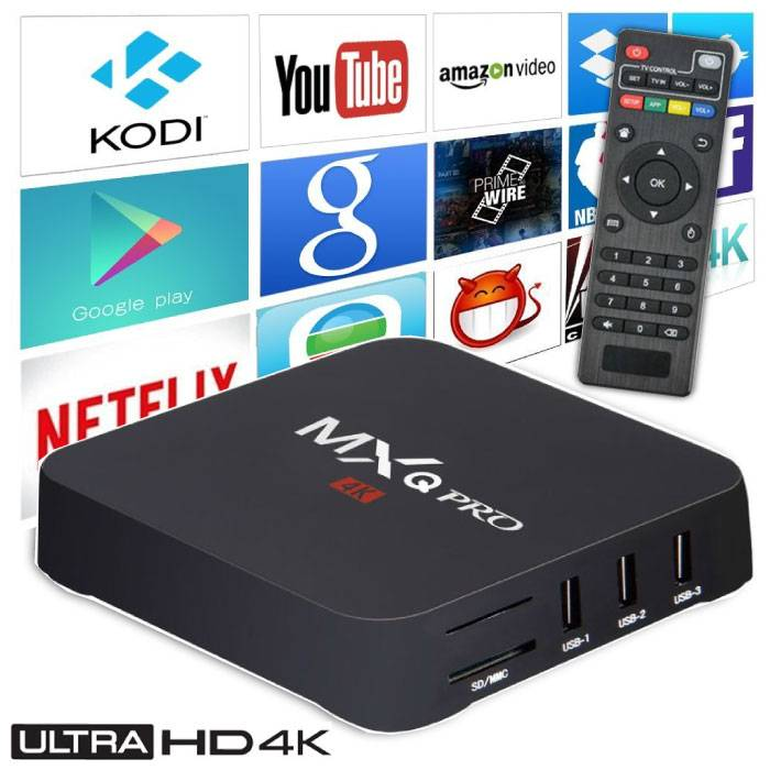 MXQ Pro 4K TV Box Mediaspeler Android Kodi - 1GB RAM - 8GB Opslagruimte