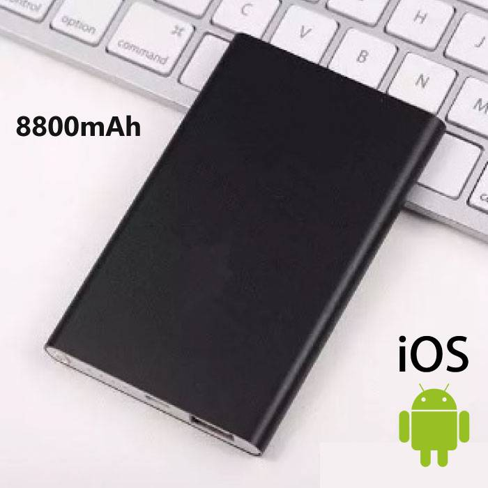 8800mAh Ultra Thin External Power Bank Emergency Battery Charger Smart Charger Black