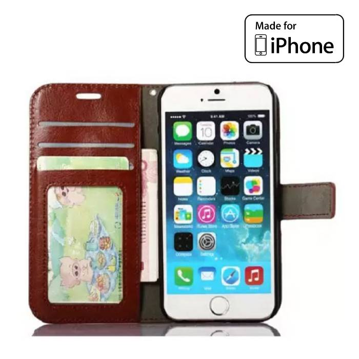 iPhone 6S - Leather Wallet Flip Case Cover Cas Case Wallet Brown