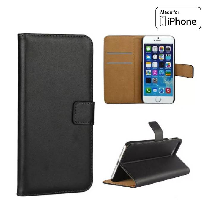 iPhone 6S 6 - Flip Wallet Case Cover Cas Case Wallet Black