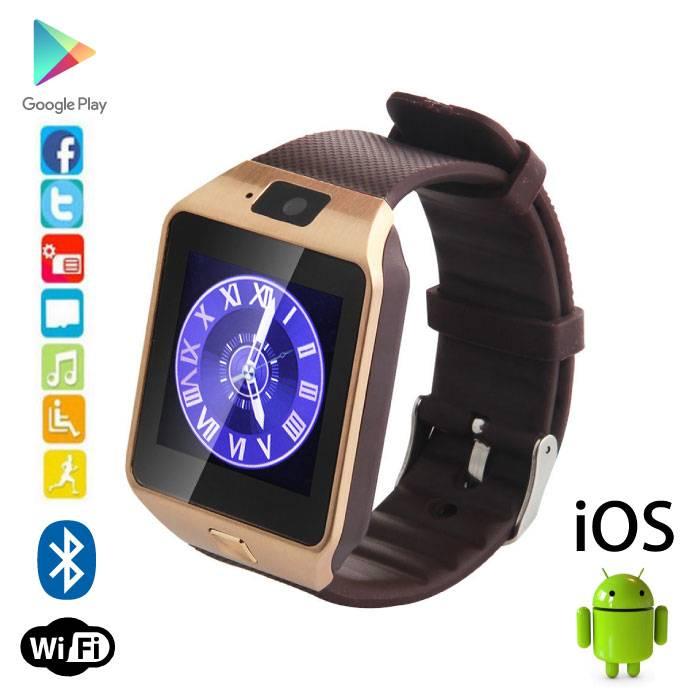 Originele DZ09 Smartwatch Smartphone Horloge Android iOS Goud