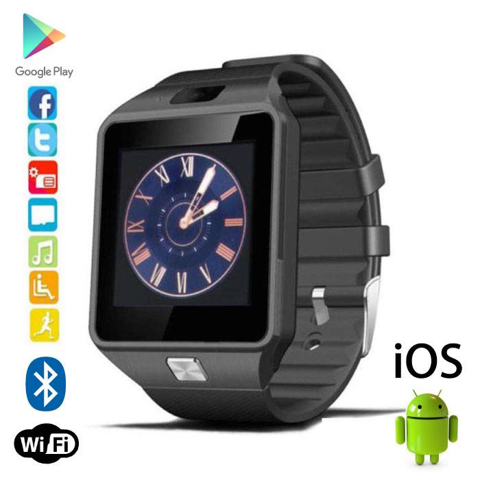 Originele DZ09 Smartwatch Smartphone Horloge OLED Android iOS Zwart