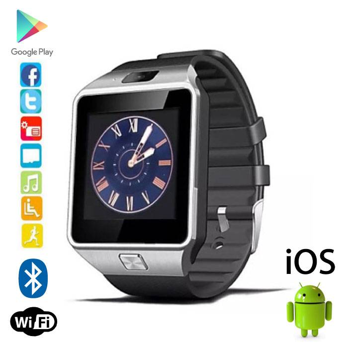 Original DZ09 SmartWatch Android Smartphone Watch OLED iOS Silver