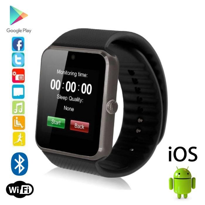 Originele GT08 Smartwatch Smartphone Horloge Android iOS Zwart