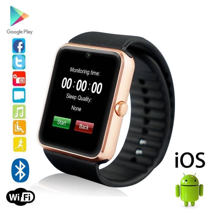 Originele GT08 Smartwatch Smartphone Horloge Android iOS Goud