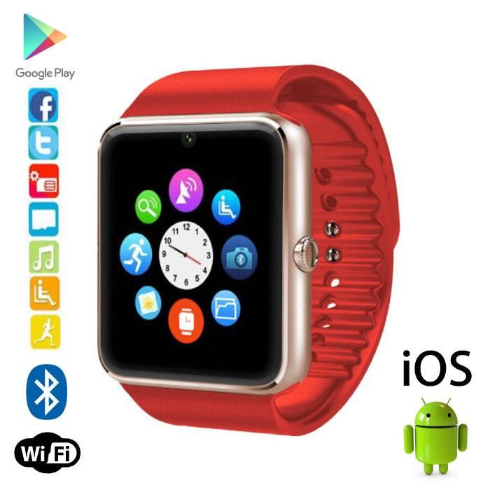Originele GT08 Smartwatch Smartphone Horloge Android iOS Rood