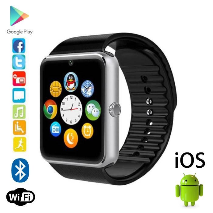 Originele GT08 Smartwatch Smartphone Horloge Android iOS Zilver
