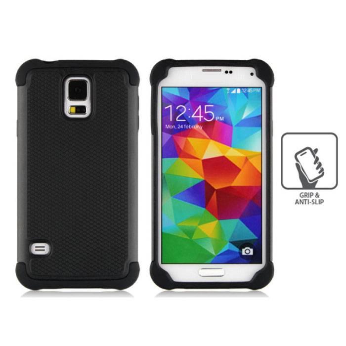 Voor Samsung Galaxy S5 - Hybrid Armor Case Cover Cas Silicone TPU Hoesje Zwart