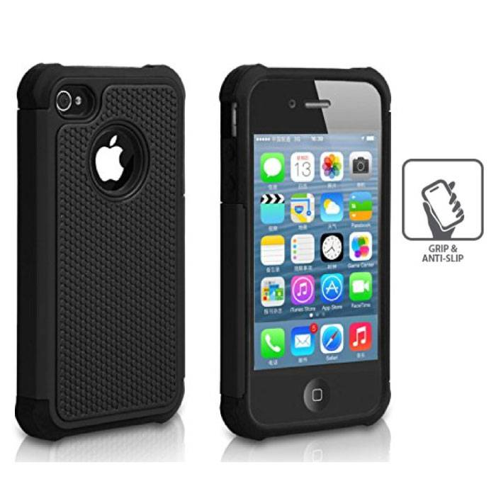 Voor Apple iPhone 4 - Hybrid Armor Case Cover Cas Silicone TPU Hoesje Zwart