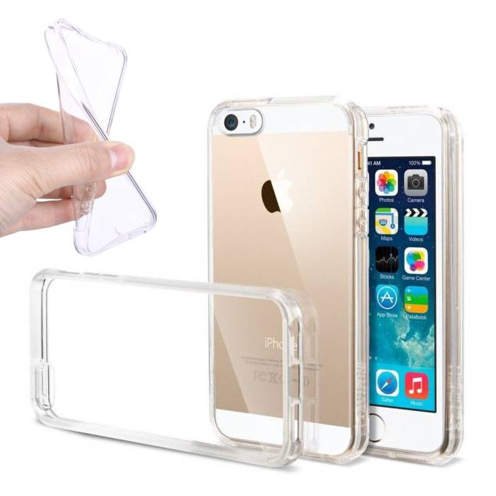 2-Pack Transparent Clear Silicone Case Cover TPU Case iPhone 5S