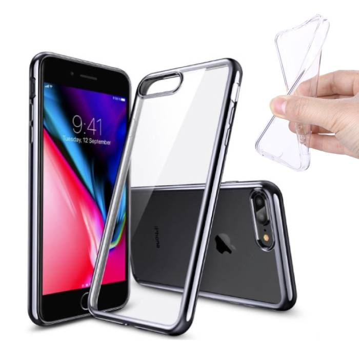 2-Pack Transparent Clear Silicone Case Cover TPU Case iPhone Plus 8