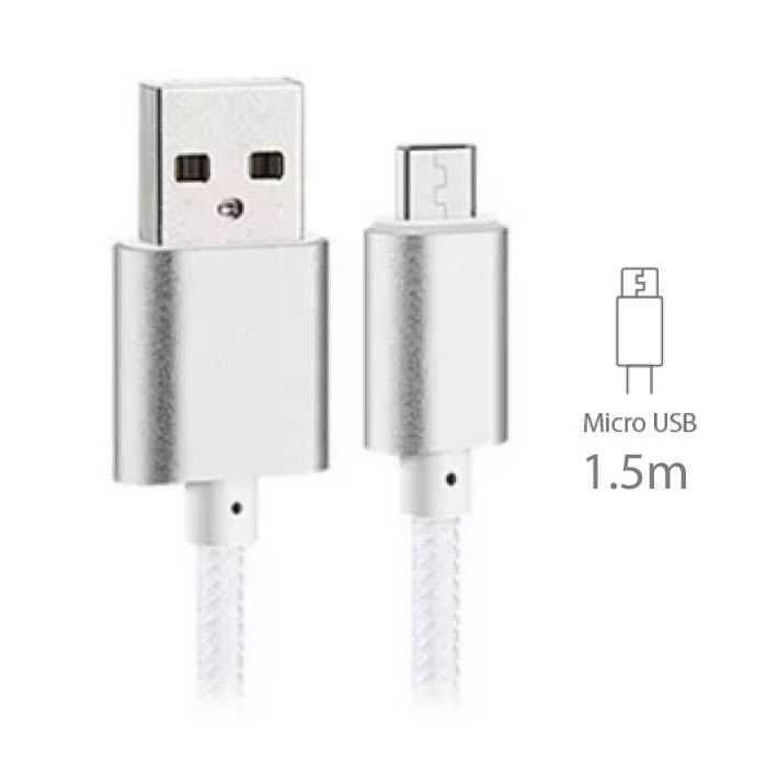 USB 2.0 - Micro-USB Oplaadkabel Gevlochten Nylon Oplader Data Kabel Data Android 1.5 Meter Wit
