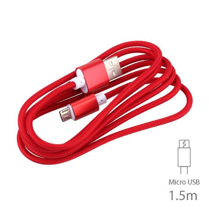 USB 2.0 - Micro-USB Oplaadkabel Gevlochten Nylon Oplader Data Kabel Data Android 1.5 Meter Rood