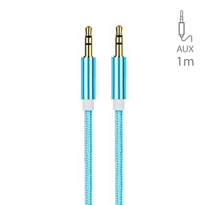 Stuff Certified ® AUX Gevlochten Nylon Aluminium Audio Kabel 1 Meter Extra Sterk 3.5mm Jack Blauw