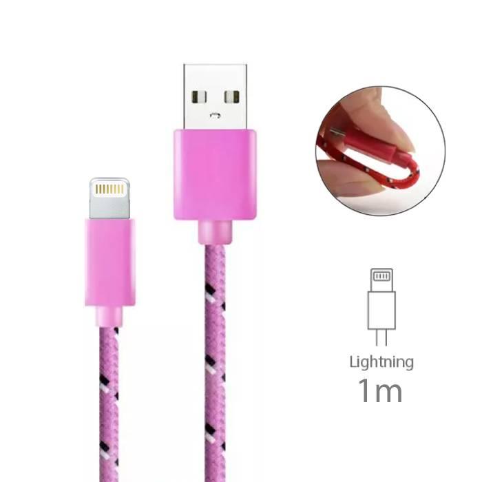 iPhone/iPad/iPod Lightning Oplaadkabel Gevlochten Nylon Oplader Data Kabel Data 1 Meter Roze