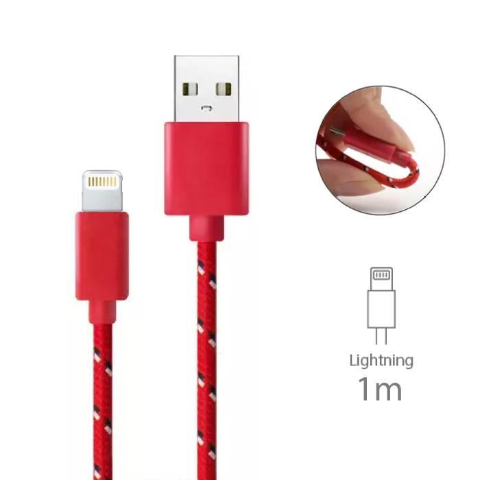 iPhone/iPad/iPod Lightning Oplaadkabel Gevlochten Nylon Oplader Data Kabel Data 1 Meter Rood