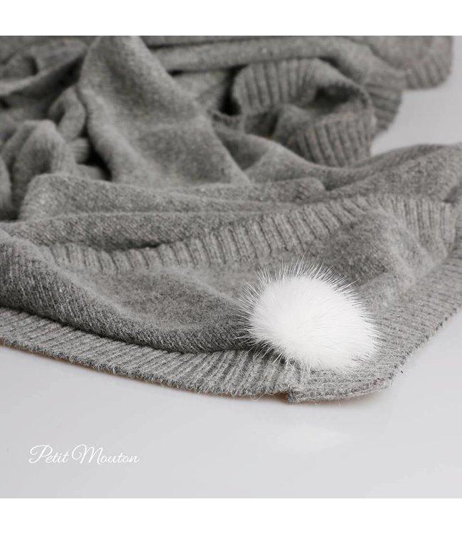 Babyblanket grey with pompom