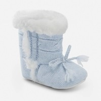 Baby boy knit booties