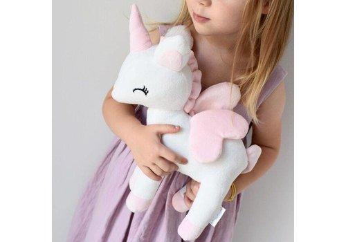 Unicorn wit met naam in glitter