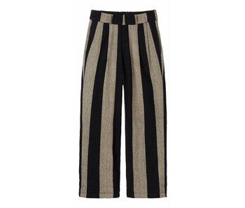 10Days Low crotch stripe pants zwart 20-047-7103