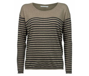 Yaya ORGANIC COTTON STRIPED SWEATER BROWNISH GREEN DESSIN 004307-723