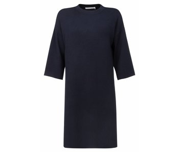 Yaya KNITTED DRESS WITH SIDE SLITS INK BLUE 081636-723