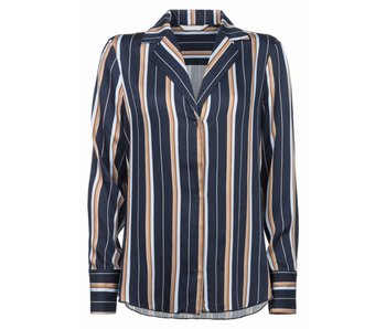 Yaya STRIPED BLOUSE WITH LAPELS INK BLUE DESSIN 012476-722