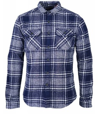 Superdry Milled flannel ls shirt donkerblauw m40005bp