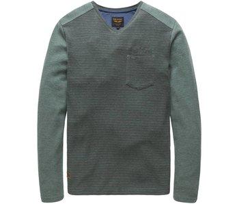 PME Legend V-neck Jacquard Jersey Betts Moss Green PTS177512