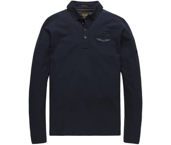 PME Legend Long sleeve polo Cotton Stretch Piq: Navy Blazer PPS178872