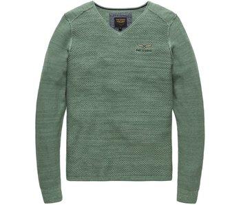 PME Legend V-neck Cotton Mouline Moss Green PKW178300
