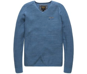 PME Legend V-neck Cotton Mouline Vallarta Blue PKW178300