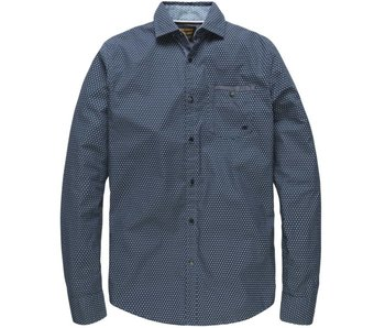 PME Legend Long Sleeve Shirt Poplin Print James Dark Navy PSI181202