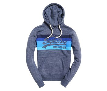 Superdry Vintagen logo cali stripe hood blauw M20013HQ