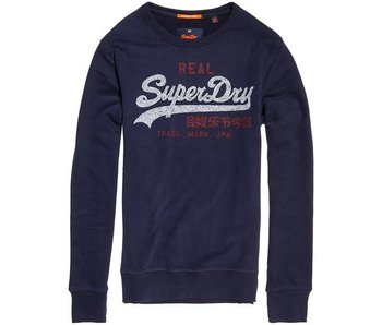 Superdry Vintage logo duo lite weight crew donkerblauw M20015HQ