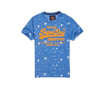 Superdry Premium goods paint splatter tee blauw M10010XQDS