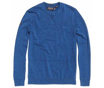 Superdry Garment dye la crew blauw M61009AQDS
