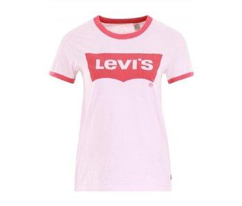 Levi's Perfect ringer tee roze 35793-0009