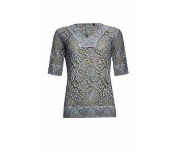 Poools Blouse lace grijs 813254