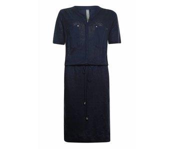 Poools Dress mix fabric donkerblauw 813187