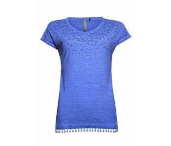 Poools T-shirt leopard collar blauw 813220