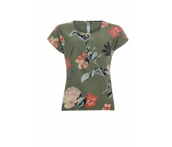 Poools Blouse flower groen 813123