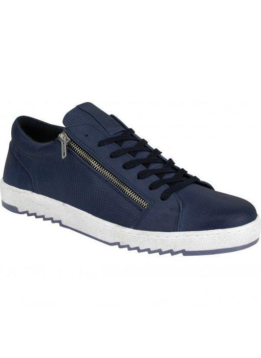 No Excess leather sneaker, zipper deta blauw 85SHOE06
