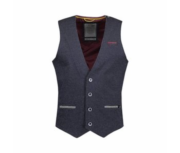 No Excess Gilet, jacquard melange stretch blauw 85640102