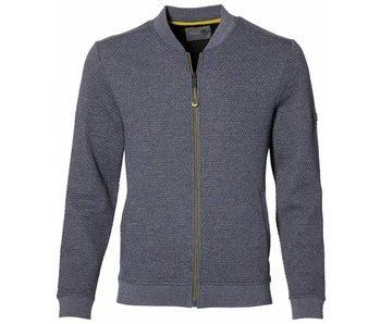 No Excess Sweater, full zip cardigan, bomber, blue Print 85100104