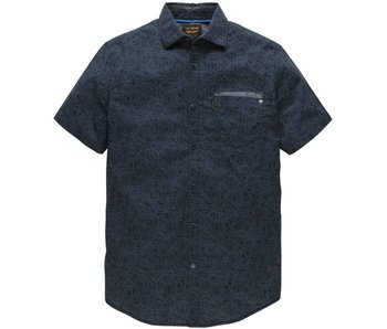 PME Legend Short Sleeve Shirt Poplin Print Bar: Dark Navy PSIS182231