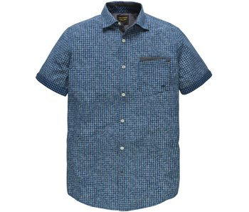 PME Legend Short Sleeve Shirt Check Print Bart Patriot Blue PSIS182235