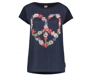 T-shirt floral heart donkerblauw 1802020212