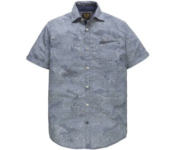 PME Legend Short Sleeve Shirt Poplin Print Ensign blue PSIS183220-5055